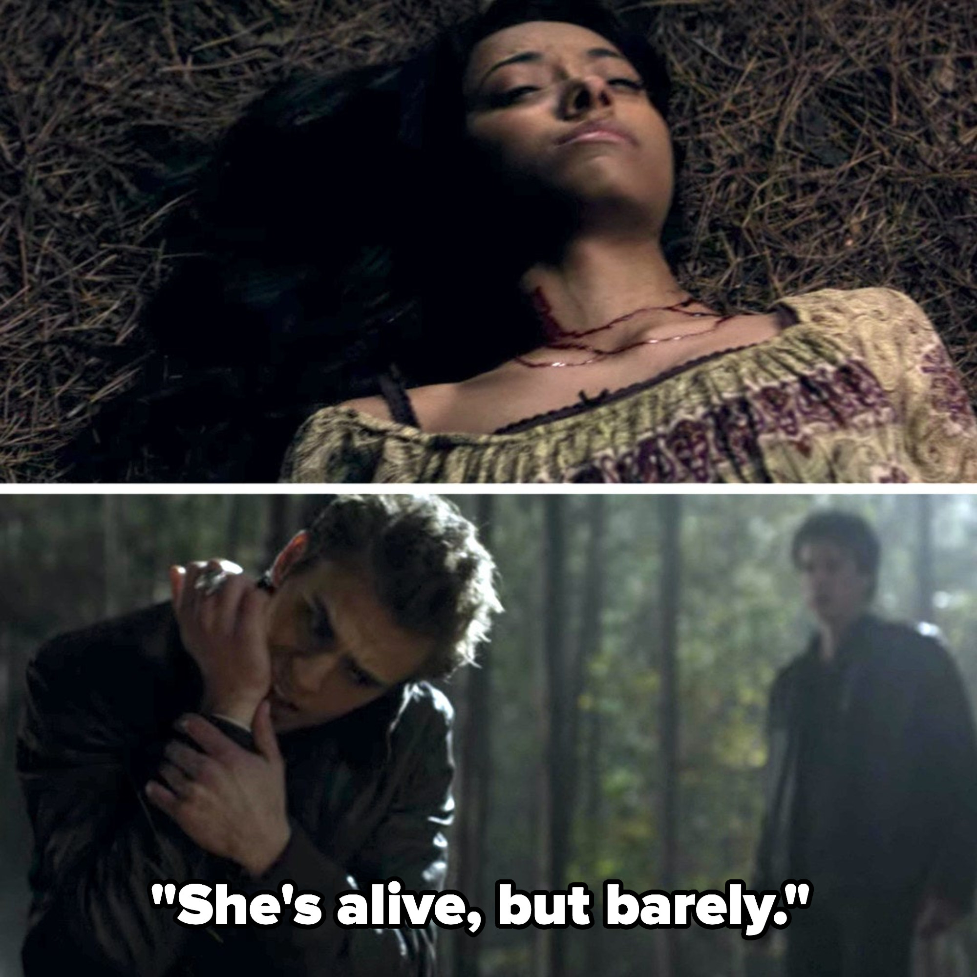 """Stefan seeing Bonnie injured on """"The Vampire Diaries"""" and saying, """"She's alive but barely."""""""