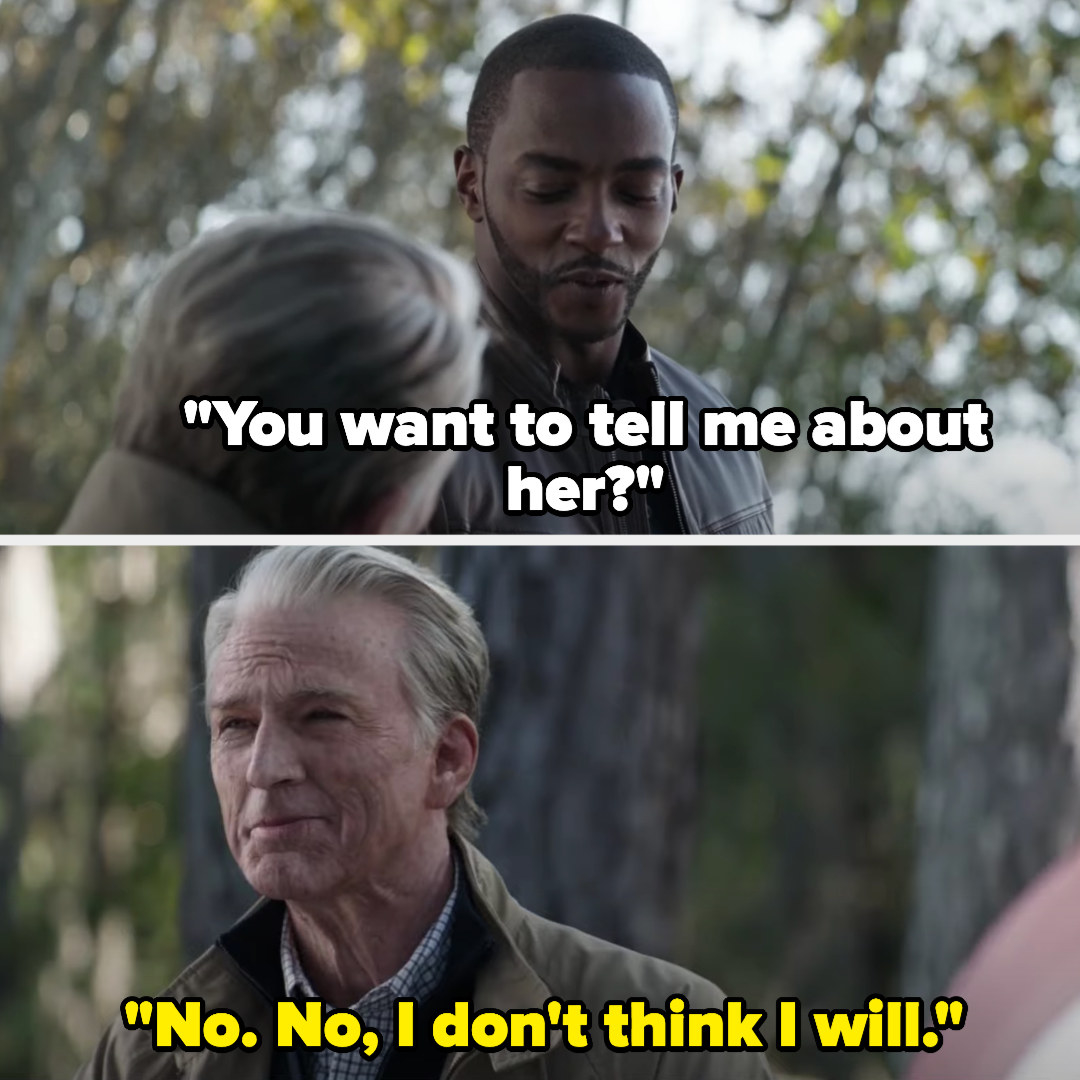 Sam asks if Steve wants to tell him about her, and Steve says he doesn't think he will