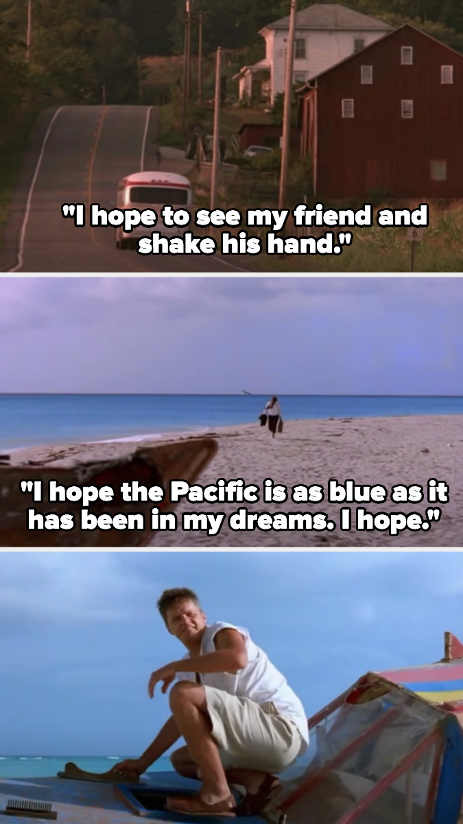 """Red narrates, """"I hope to see my friend and shake his hand, I hope the Pacific is as blue as it has been in my dreams, I hope..."""" and reunites withAndy on the beach"""