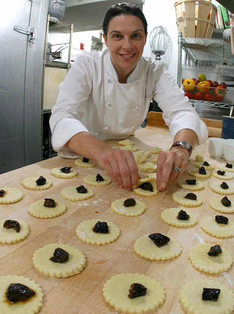 Lynch preparing gnocci at her restaurant