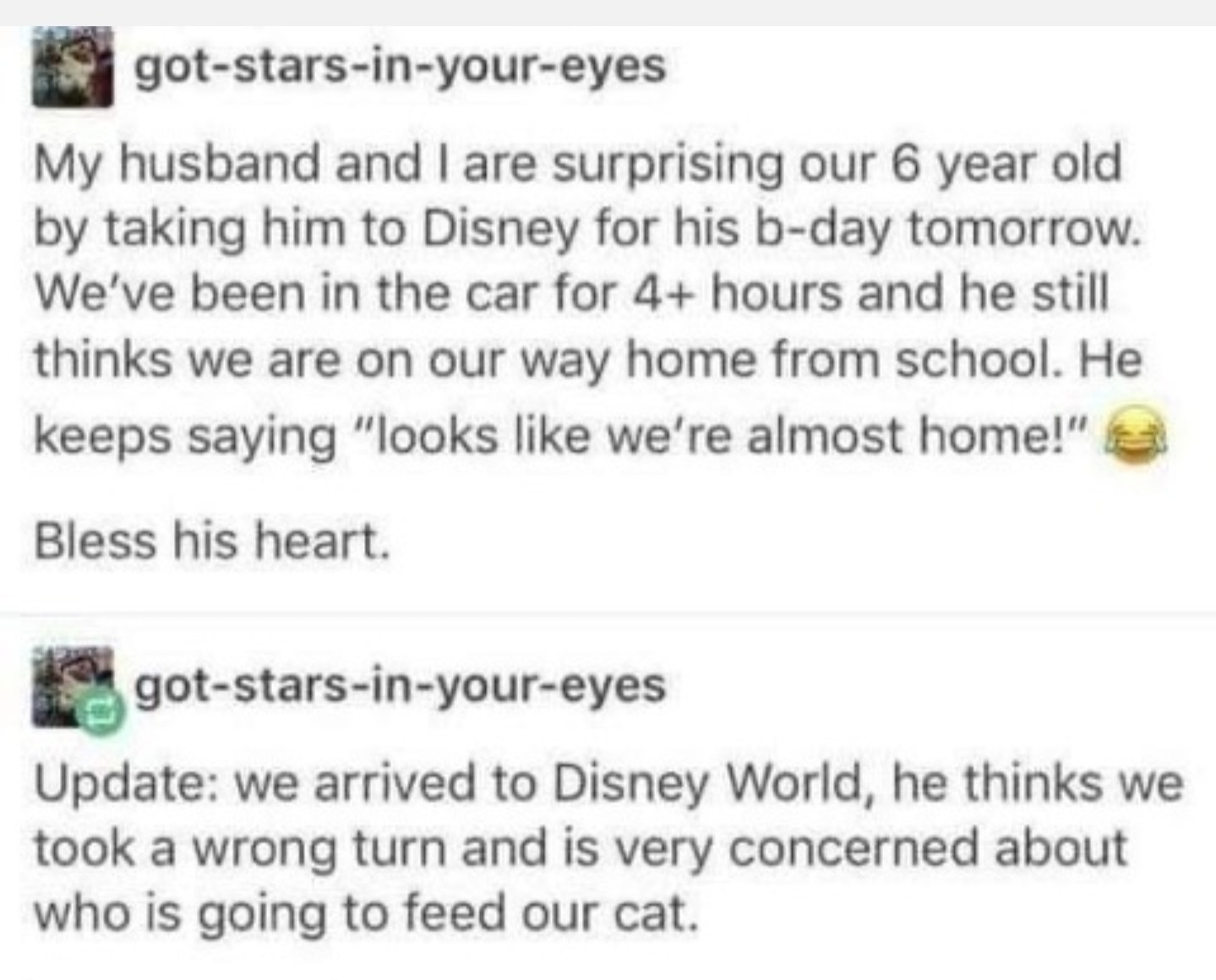 funny conversation about a kid being tricked into going to disney