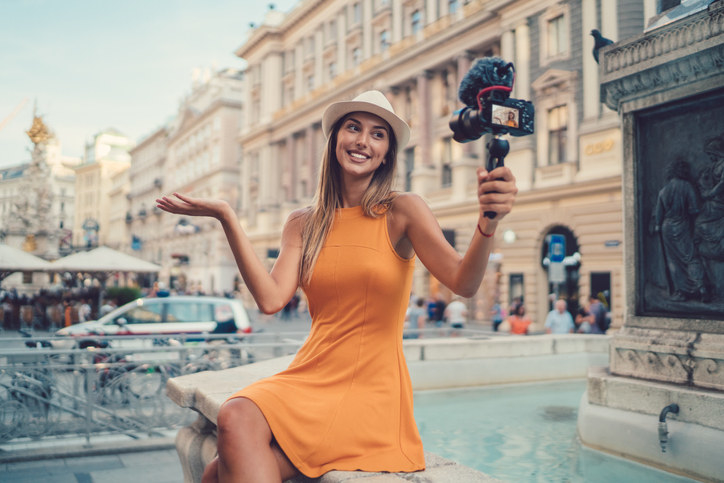 A woman vlogging in Vienna, Italy