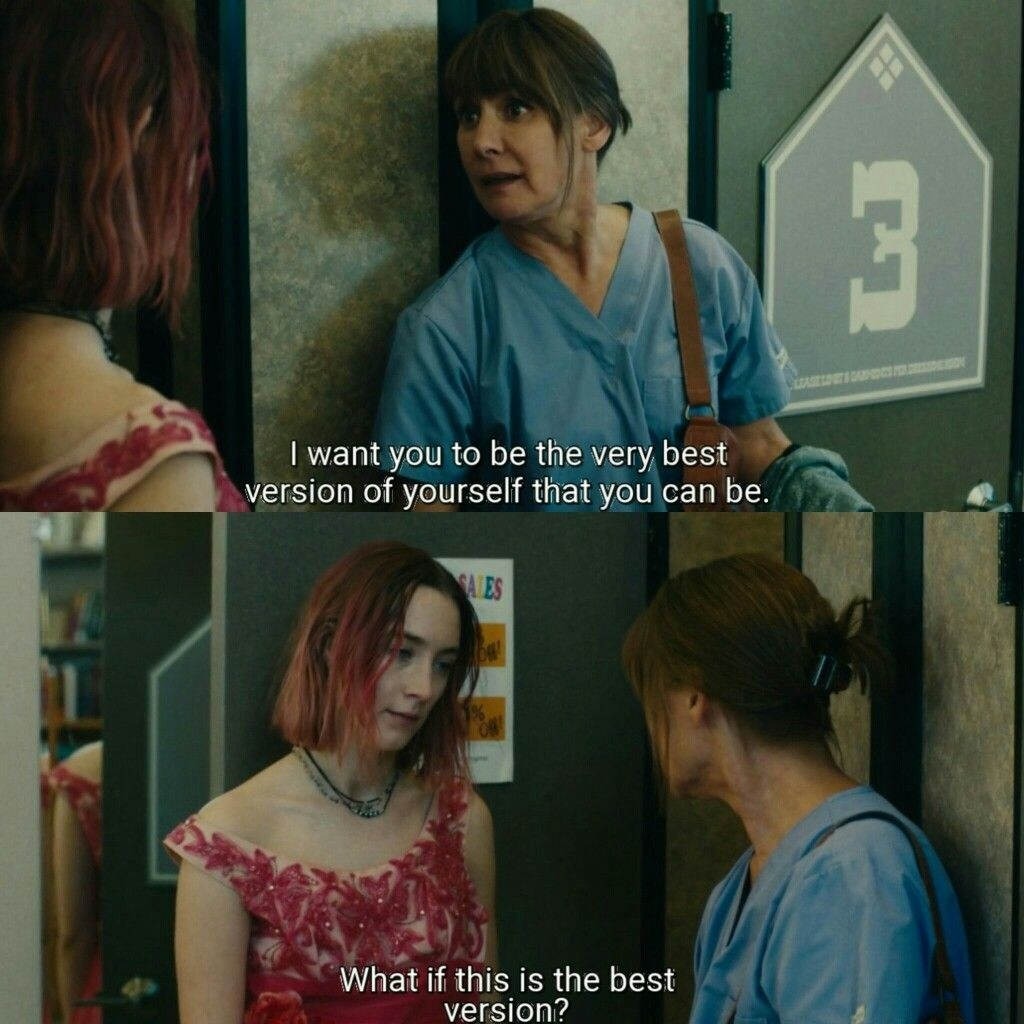 """Lady bird and her mom having the """"best version of yourself"""" conversation in lady bird"""