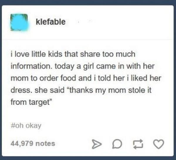 kid says their parent stole from target