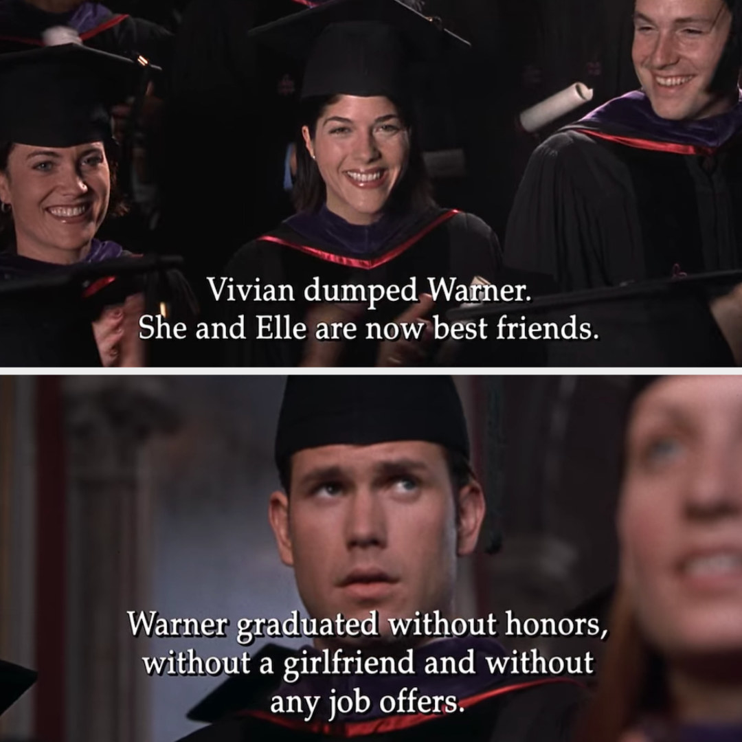 Warner graduated without honors, without a girlfriend, and without any job offers