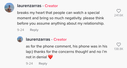 """Lauren said """"as for the phone comment, his phone was in his lap :) thanks for the concern though! an no i'm not in denial [heart emoji]"""