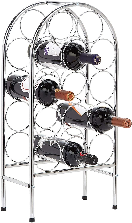 Estante para 14 botellas de vino curvado y chapado en cromo