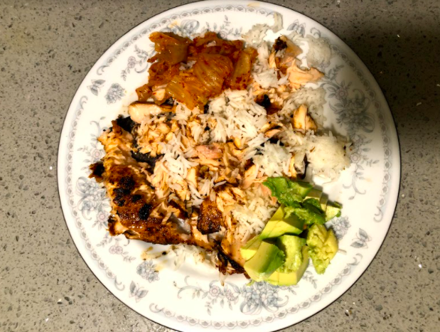 The rice and salmon combined