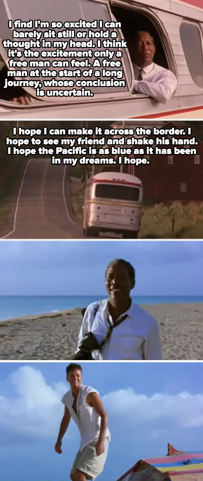 Red says he hopes he can see his friend again and shake his hand, and then he and Andy reunite on the beach