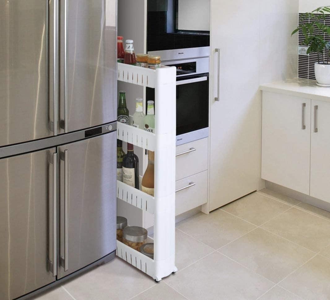 Carrito delgado de cuatro niveles para cocina y baño