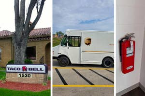 A house with a Taco Bell sign out front, a white UPS truck, and a flat fire extinguisher