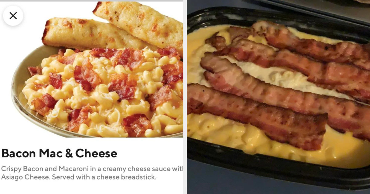 full bacon strips laid on top of annie's mac and cheese