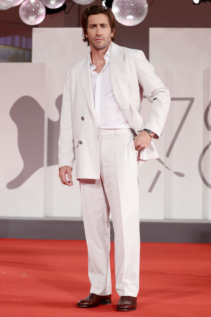 """Jake Gyllenhaal attends the red carpet of the movie """"The Lost Daughter"""" during the 78th Venice International Film Festival"""
