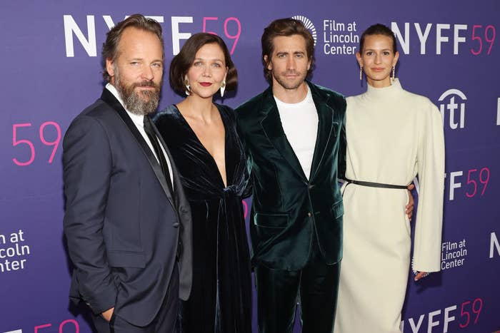 """(L to R) Peter Sarsgaard, Maggie Gyllenhaal, Jake Gyllenhaal, and Jeanne Cadieu attend the premiere of """"The Lost Daughter"""" during the 2021 New York Film Festival"""