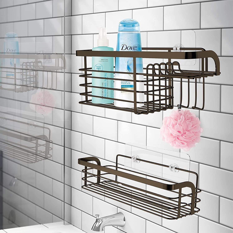 Dos organizadores adhesivos para ducha