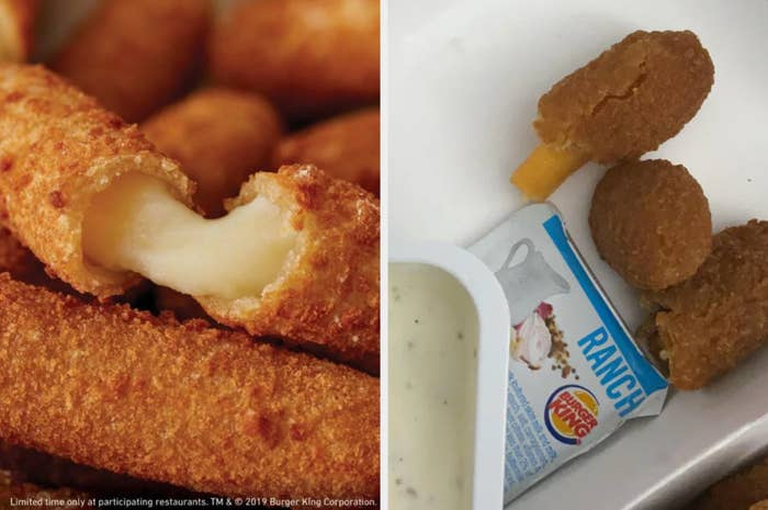 unmelted cheesestick inside fried exterior