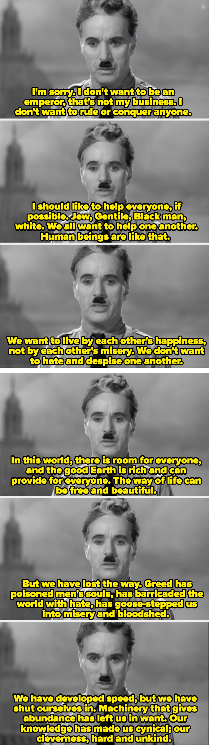 Charlie Chaplin talks about how greed has ruined humanity, and how our natural instinct is to take care of one another