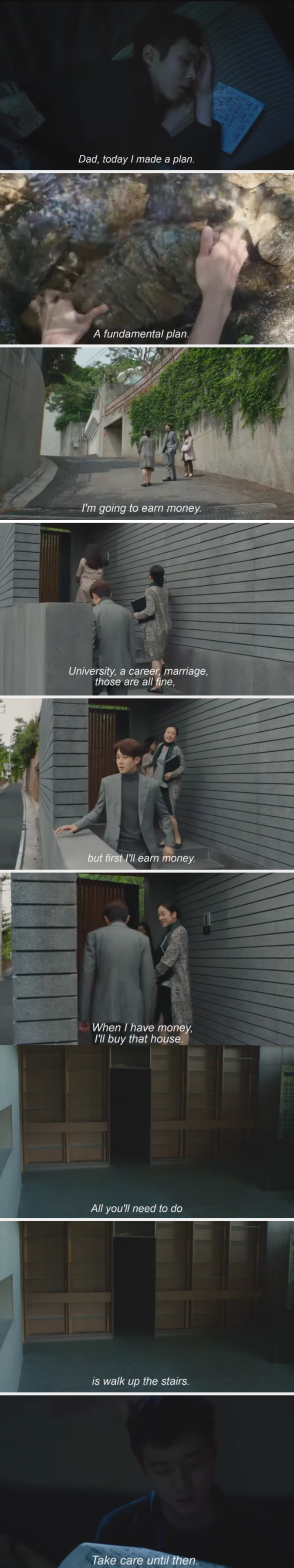 Ki-Woo promises to buy the house where his father is trapped