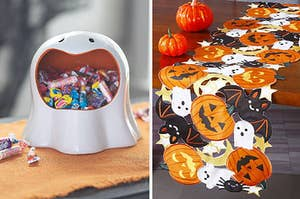 ghost candy holder and halloween table runner