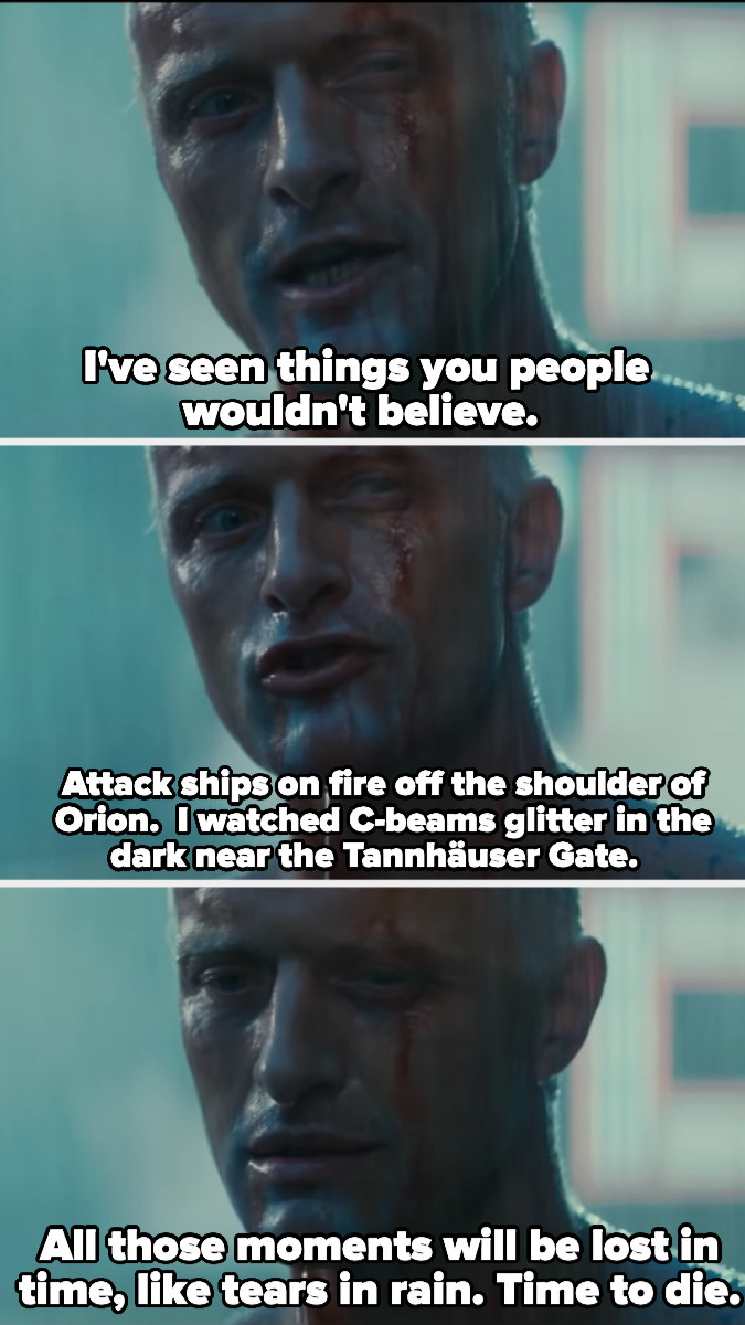 """Roy says, """"I've seen things you people wouldn't believe.Attack ships on fire off the shoulder of Orion.  I watched C-beams glitter in the dark near the Tannhäuser Gate.All those moments will be lost in time, like tears in rain. Time to die."""