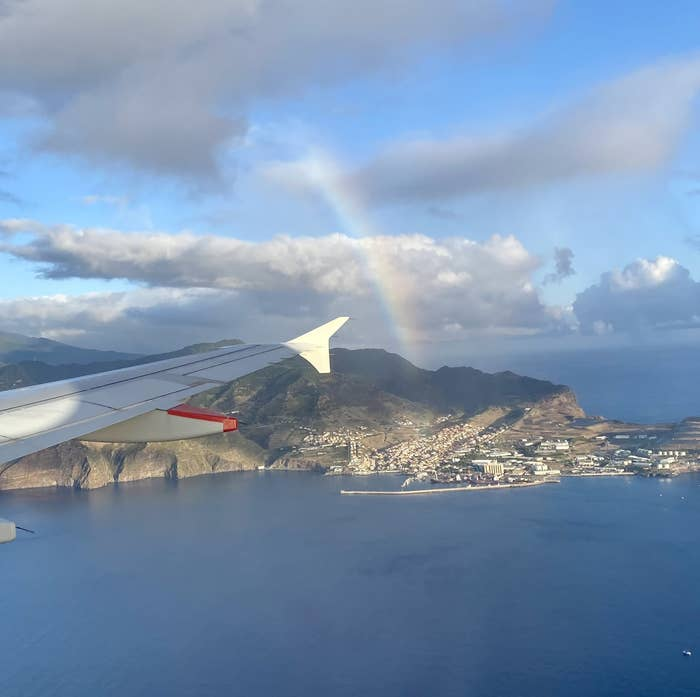 view of a rainbow from the airplane