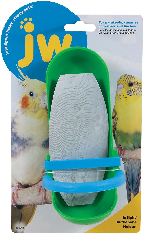 An image of a cuttlebone holder bird toy