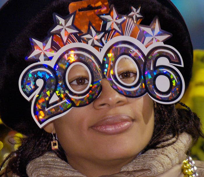 a woman with 2006 glasses