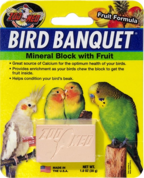 A mineral block treat for birds