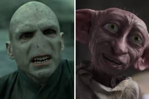 Voldemort is on the left smiling with Dobby on the right