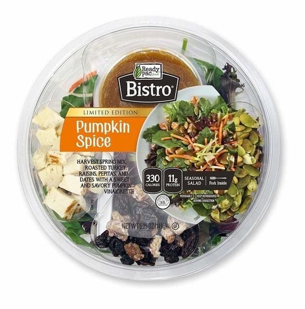 Pumpkin Spice Salad with spring mix, turkey, raisins, pepitas, dates, and a pumpkin spice vinagrette