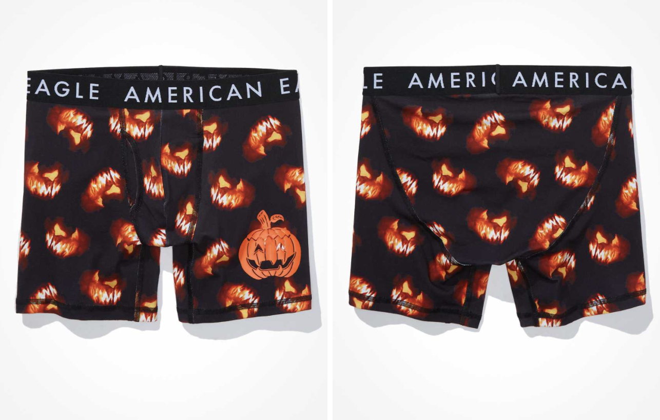 scary jack-o-lantern-patterned pumpkin spice scented boxer briefs