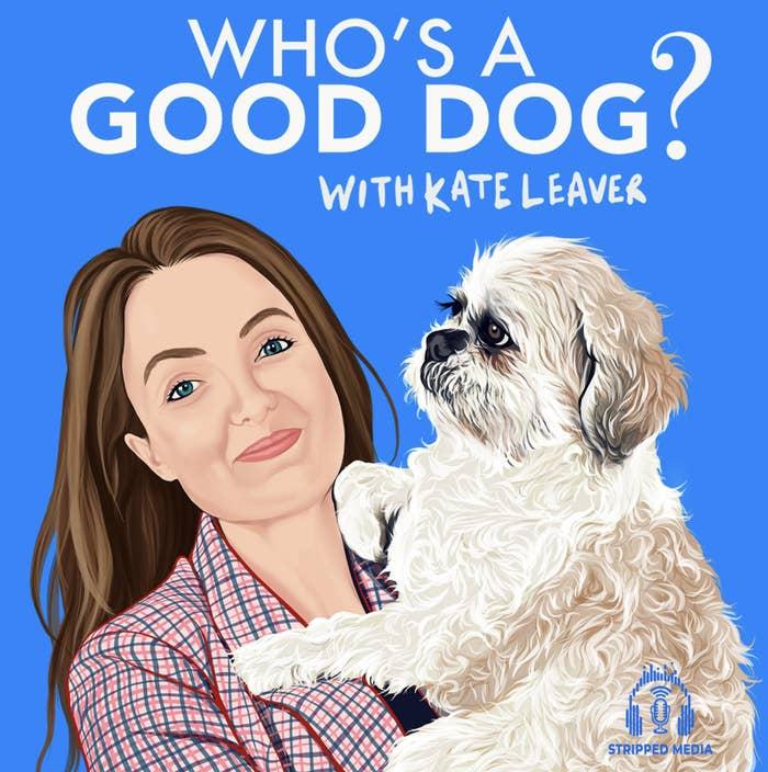 An illustration of Kate Leaver holding a dog