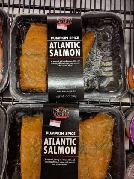 Pumpkin spice seasoned atlantic salmon