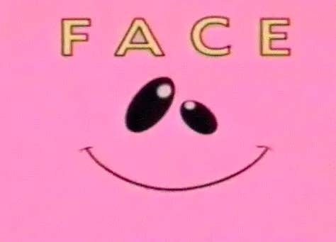 pink face from nickelodeon with the words face over it