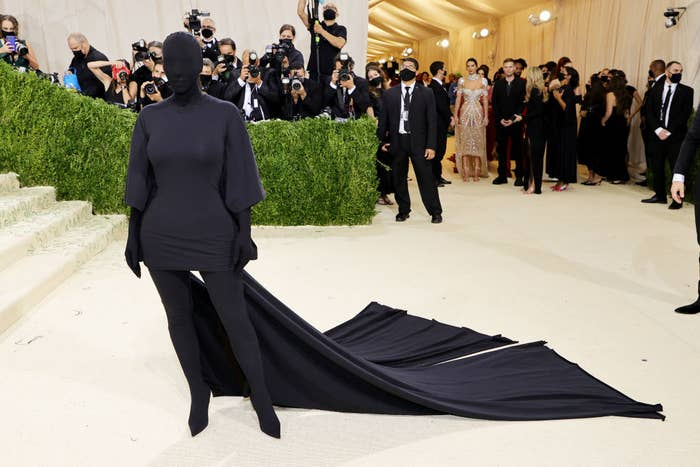 Kim covered head-to-toe, including her face, at the MET Gala