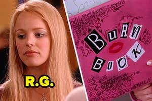 regina george on the left and the burn book on the right