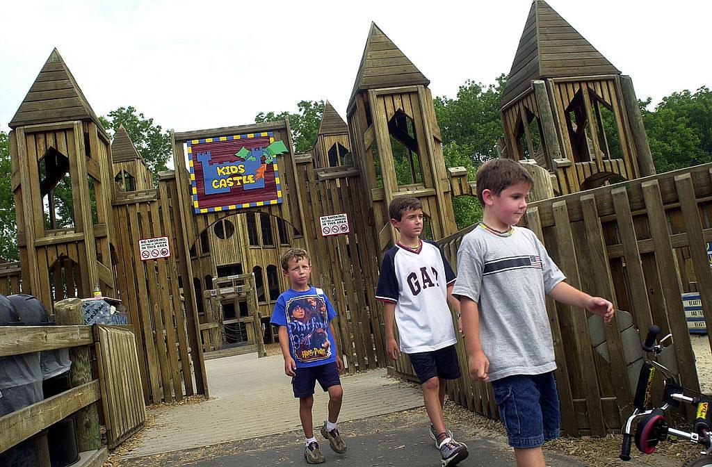 a wooden playground