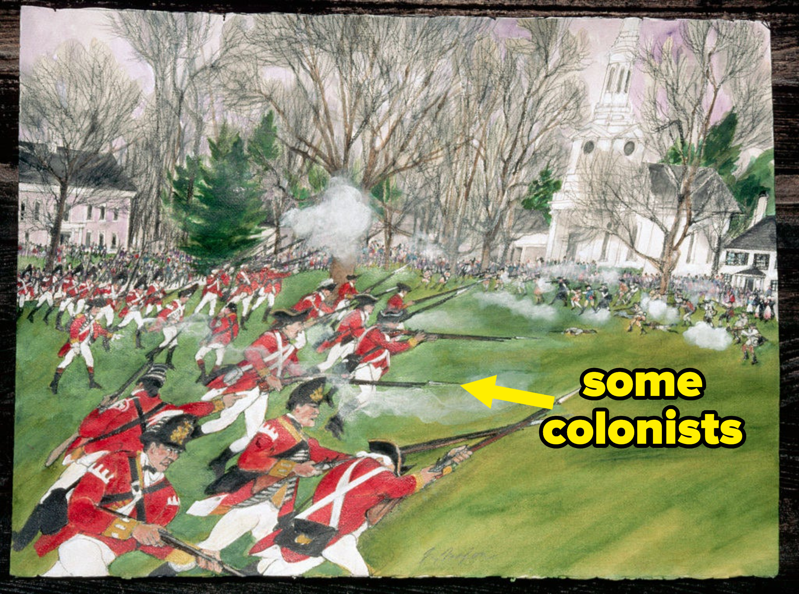 """battle in revolutionary war with redcoats labeled """"some colonists"""""""