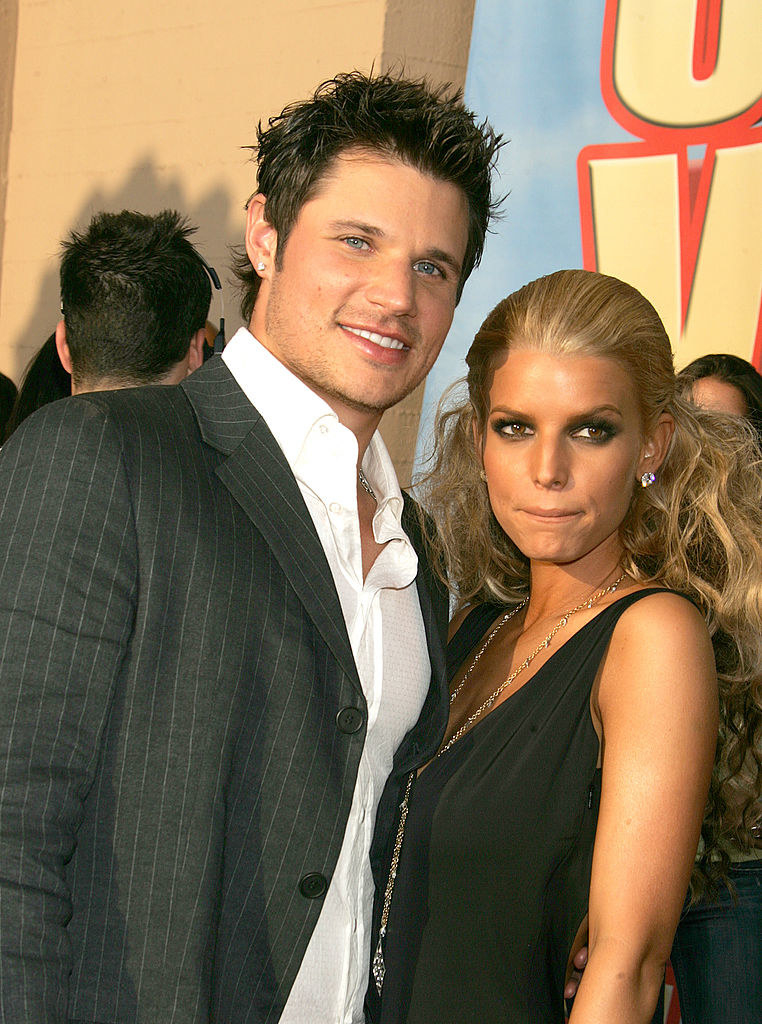 nick and jessica on a red carpet