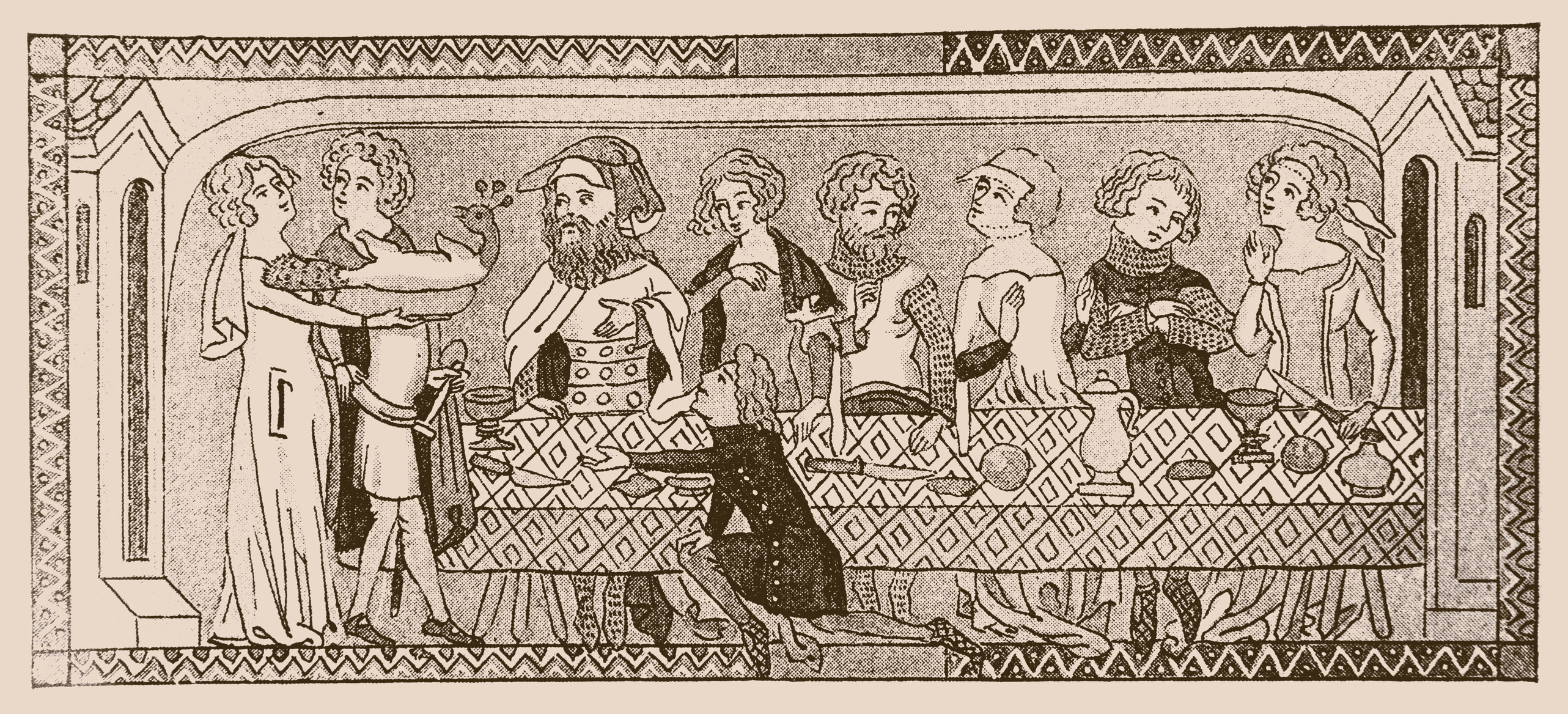 drawing of people at a table