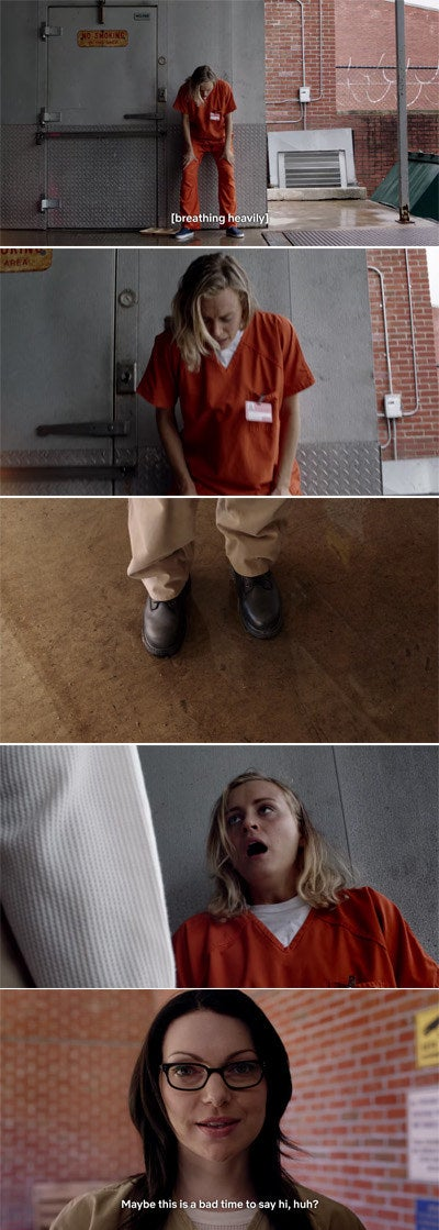 """Alex walking up to Piper at prison and saying """"Maybe this is a bad time to say hi, huh?"""""""