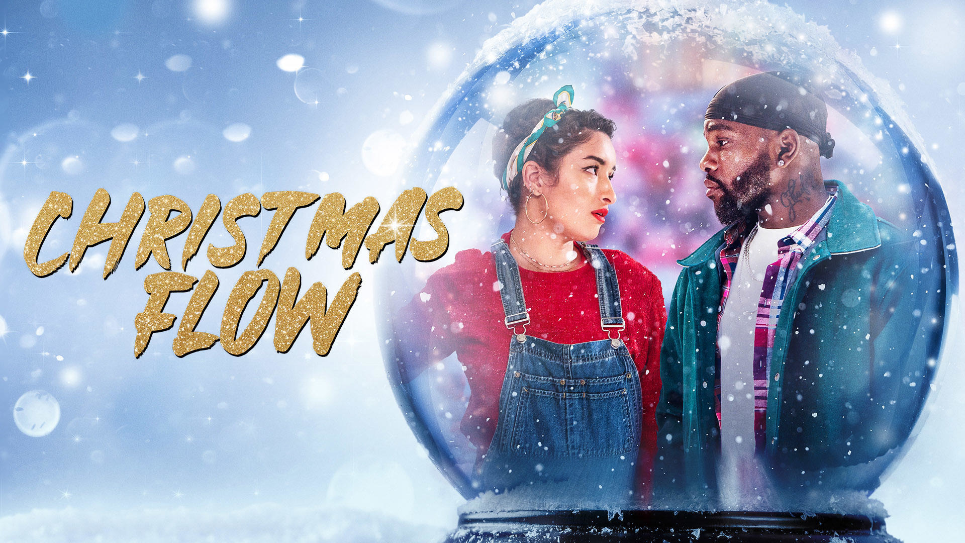Two people pictured inside of a snow globe