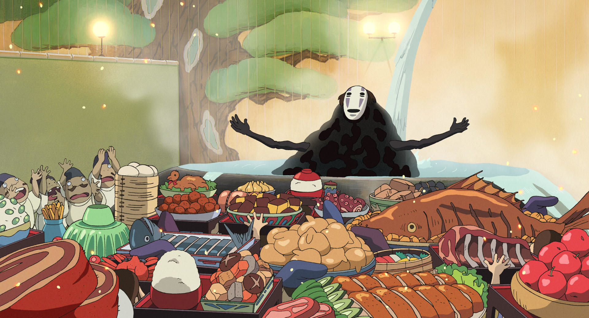 """A screenshot of all the food in a scene from """"Spirited Away"""""""