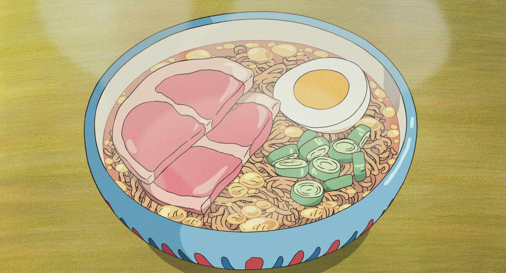 A close-up of a bowl of ramen in a Studio Ghibli movie