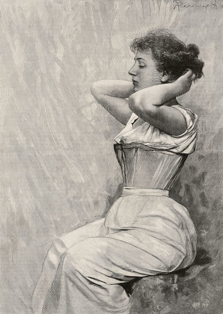 a woman in a corset