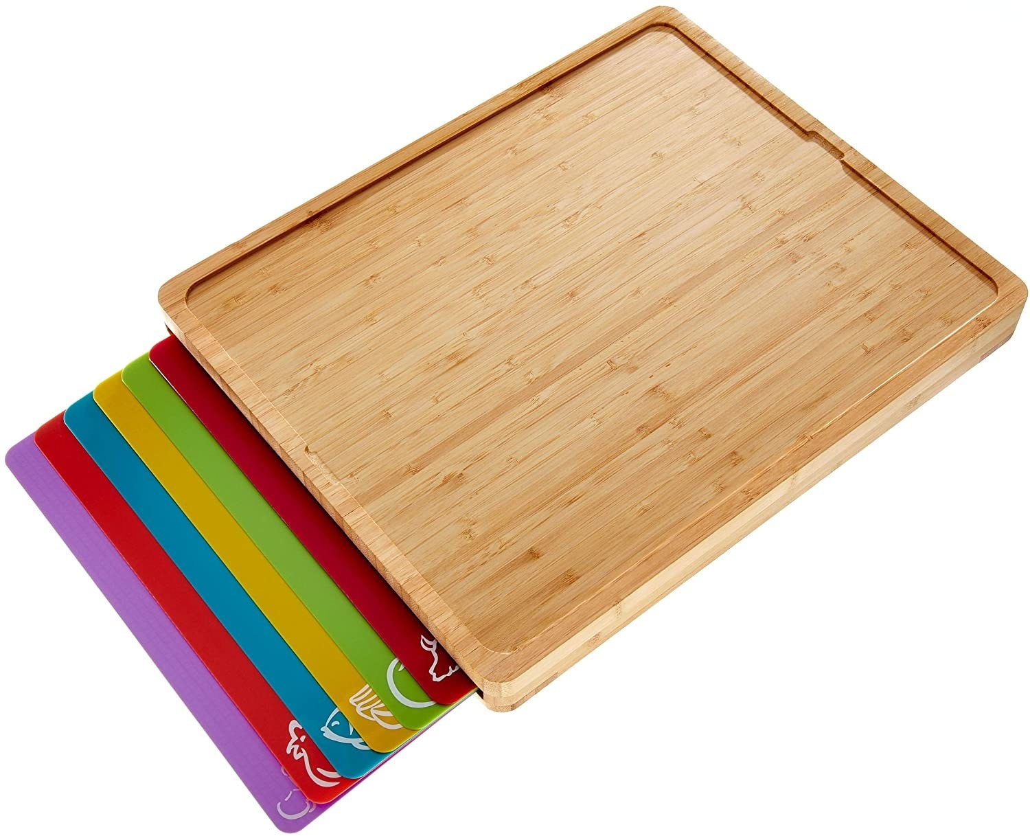 a bamboo cutting board with six colored mats peeking out from an inner slot