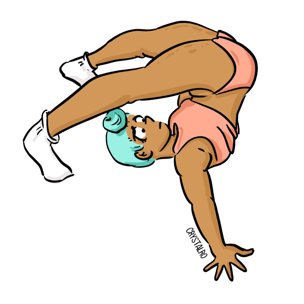Illustration of a person with their legs flipped up over their head