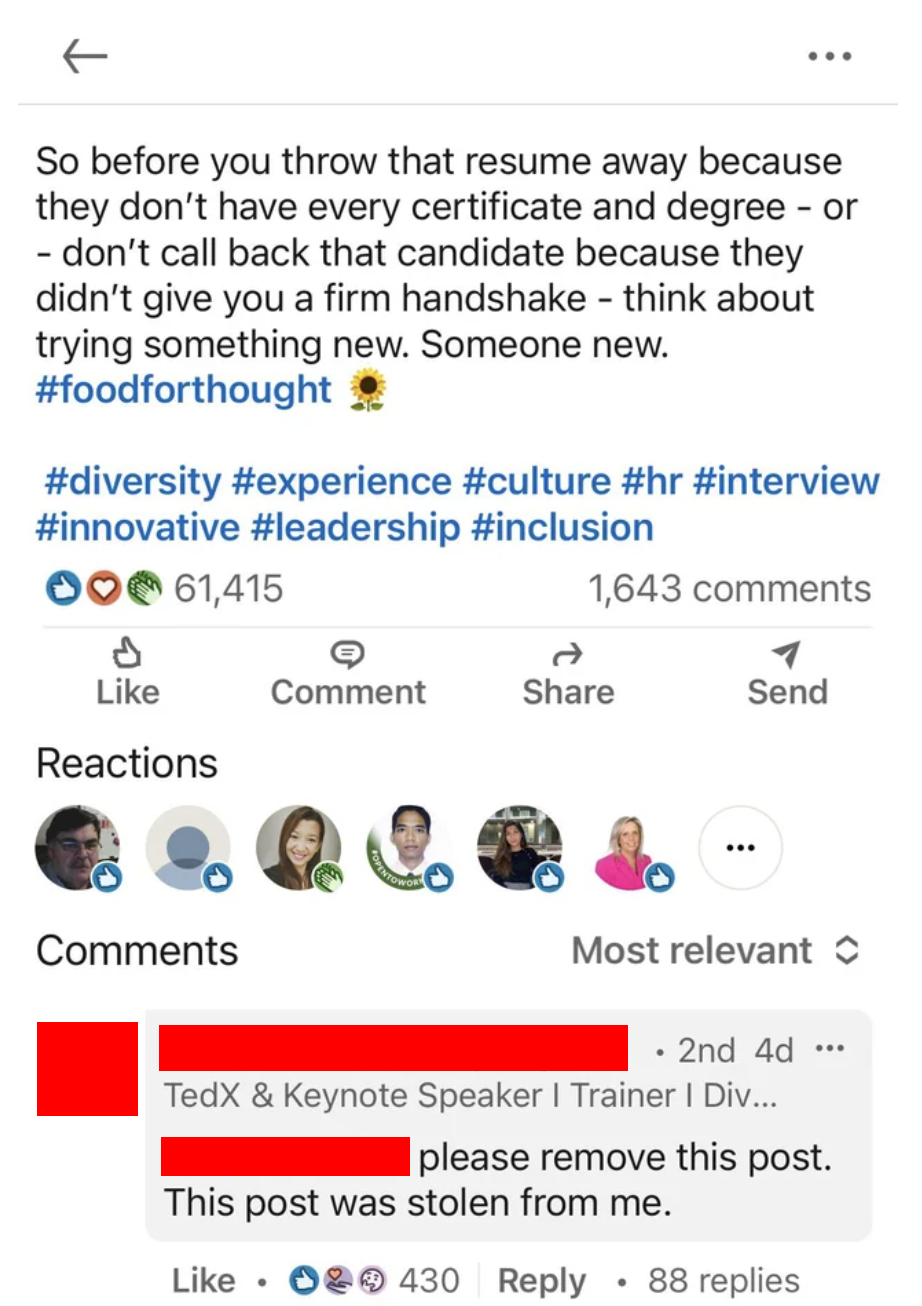 Someone plagiarizing a LinkedIn post and being called out for it by the original poster