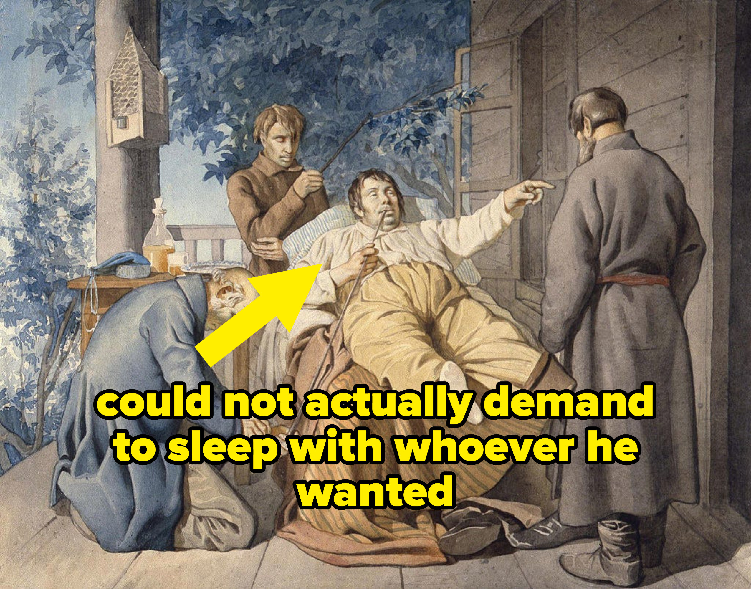 """lord being carried by serfs labeled """"could not actually demand to sleep with whoever he wanted"""""""