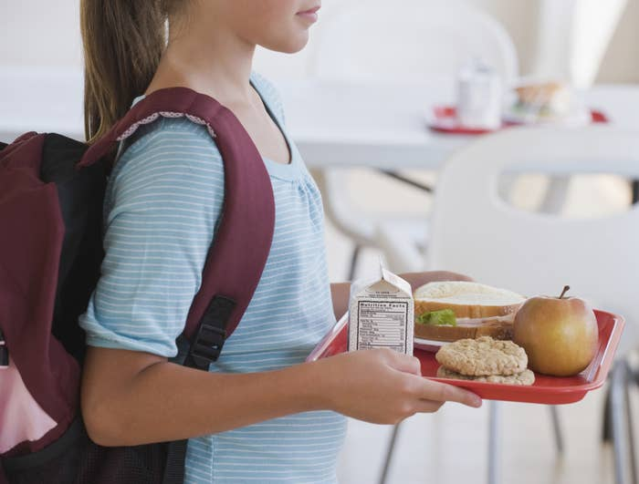 Girl carrying her school lunch
